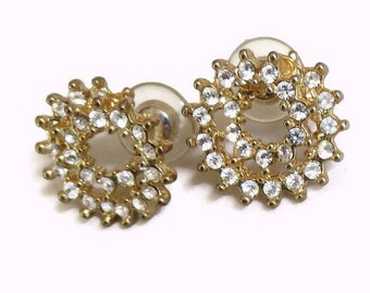 Vintage Spiral Circle Design Pierced Earrings Gold Tone with Clear Ice Rhinestones