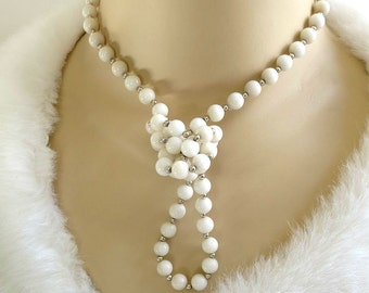 White Glass Bead Necklace Vintage Single Strand Beaded