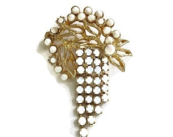 Vintage White Milk Glass and Rhinestones Dangle Brooch
