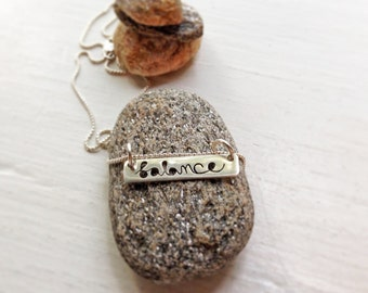 Balance - Inspirational Message to You Bar Cutout Necklace