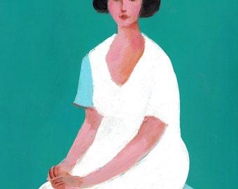 Alida - ACRYLIC PAINTING - original art woman painting- green white lady - wall art painting