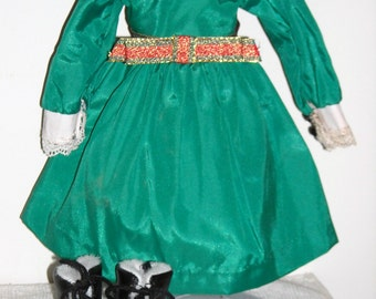 "Shirley Temple ""LITTLE CAROLER"" Green Satin Dress w/ Fur Lined Black Leather Boots"