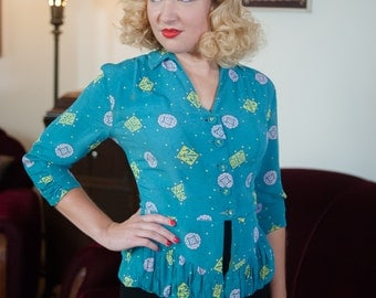 Vintage 1940s Blouse - Vibrant Aqua Abstract Print Rayon 40s Peplum Jacket with Chartreuse and Pink