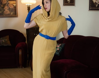 Vintage 1940s Dress - Warm Golden Chartreuse Evening Gown with Optional Cowl Style Hood