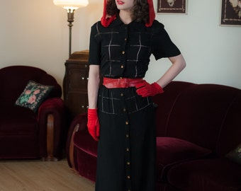 Vintage 1940s Dress - Versatile Black Rayon Crepe 40s Day Dress with Sheer Windowpane Fagot Detailing