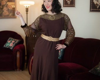 Vintage 1930s Dress - Incredible Chocolate Brown Rayon 30s Gown with Sheer Chiffon Gold Sequined Neckline and Sleeves