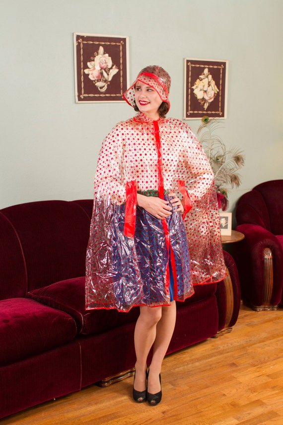 Vintage 1960s Raincoat Clear Vinyl With Red Polka Dots 60s