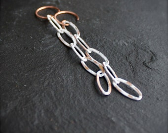 White Wash Copper Chain Dangle Earrings Rustic Patina Long Shoulder Dusters Boho Bohemian Jewellery 5