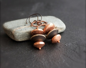 Peach Copper, Brown Wood Dangle Drop Earrings - Dark Rustic Oxidized Patina Stacked Saucer Handmade Boho Jewellery