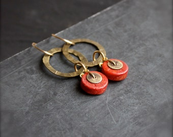 Red Coral, Brass Dangle Hoop Earrings - Gold Brown Oxidized Metalwork Boho Jewellery