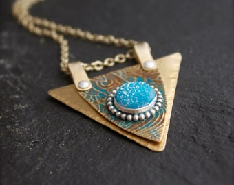 Faceted Blue Druzy Pendant Necklace - Sterling Silver, Ice Blue Stone, Etched Gold Brass, Turquoise Patina, Art Nouveau, Boho Jewelry
