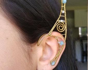 Swirly Brass Elf ear earcuff pair w/ blue gemstones and unique wire work Elf Ears, Elvish, Elven Ears, Pixie Ears, Fairy Ears,