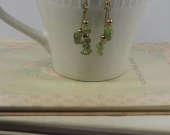 Peridot chip dangle earrings