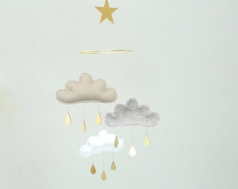 "Mobile ""NOUR"" White,Grey,Taupe Beige cloud mobile for nursery with gold star by The Butter Flying-Rain Cloud Mobile Nursery Decor"