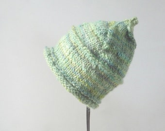 Hand Knit Hand Spun Baby Hat, Hand Knit Hand Spun Baby Pixie Hat, Hand Knit Pixie Hat, Pixie Hat, Baby Hat Size 6 - 12 months, Green Hat