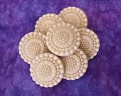 Beige Vintage Buttons 21mm - 3/4 inch Sparkly Faceted Gem Flower Plastic Buttons - 7 VTG NOS Pastel Brown Sewing Buttons - Tan Shanks PL270