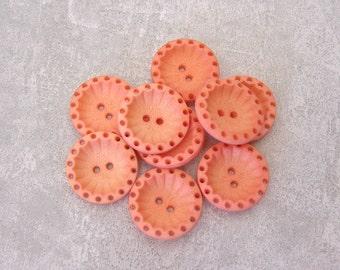 Pierced Flower Buttons - CHOOSE 15mm 5/8 inch, 18mm 3/4 inch - Apricot Orange Retro Flower Buttons - 9 VTG NOS Matte Orange Buttons PL205