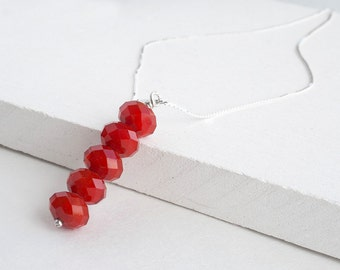 Sparkly red beaded necklace - sterling silver necklace - minimal jewelry