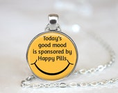 Today's Good Mood is Sponsored by Happy Pills Changeable Magnetic Pendant Necklace with Organza Bag