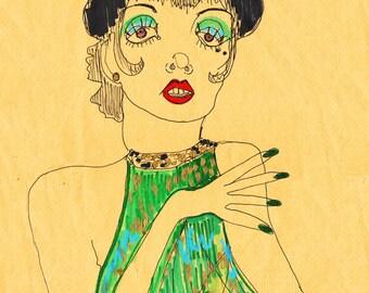 LIZA MINNELLI Drawing Print / Portrait/ mixed media / Icon /  Cabaret / sizes a4+