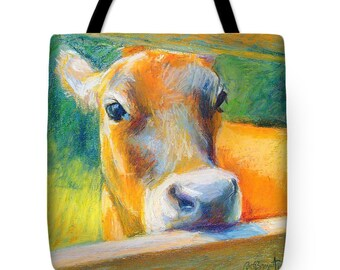 Cow Tote Bag - Bashful by BethanyBryant