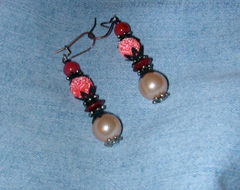 Earrings with Dramatic Varying Textures Shades of Pink and Burgundy Against Dark Antique Costume Jewelry Findings