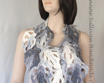 Philodendron Leaf Scarf, White and Gray Leaf Scarf, Leaf Wrap, Winter colors