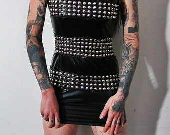 Hell Couture Wolf Bait Studded Band Mini Dress