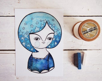 Night postcard, blue constellation & stars illustration