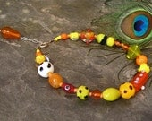 Beaded Anklet ~ Ankle Bracelet with Orange, Yellow, and Red Lampwork Glass Beads ~ Sterling Silver - 10.5 - 11.5 inches