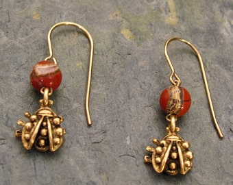 Earrings: Red Jasper with Lady Bug Dangles ~ 14Kt Gold-Filled French Hooks
