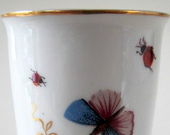 Fine Porcelain 22K Gold Trim Drink Cup Glass Japan Butterfly Flower Vanity Dish Butterflies Insect LadybugCollectible