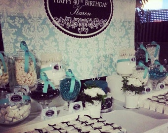 DAMASK aqua and black Printable Party 72x39 Backdrop - for wedding, bridal shower, birthday, baby shower  You Print