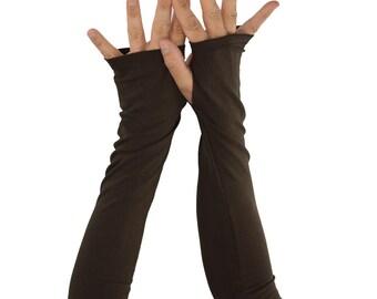 Arm Warmers in Teak Brown - Chocolate Brown - Long Fingerless Gloves