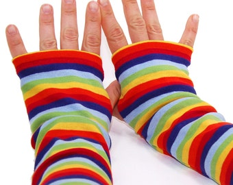 Arm Warmers in Super Bright Rainbow Stripes - Fingerless Gloves - LAST PAIR