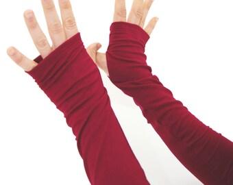 Arm Warmers in Sangria - Wine Berry Red - Sleeves - Fingerless Gloves - LAST PAIR