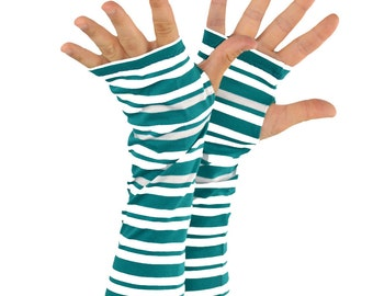 Arm Warmers in Teal Green and White Stripes - Fingerless Gloves - Sleeves