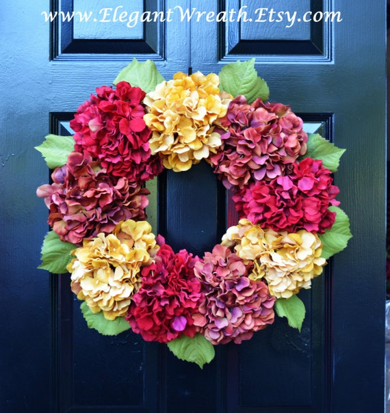 Hydrangea Fall Wreaths, Fall Hydrangea Wreath, Outdoor Fall Decor, Fall Decoration, Fall Hydrangeas, Fall Decoration, Door Wreath