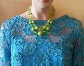 SUPER SALE priced, Vintage Green Necklace, Fun & Flirty, Vintage, 1950s, Shades of Green, Beaded, Necklace