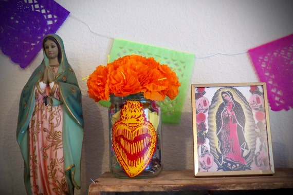 Day of the Dead  Paper MARIGOLDS with SACRED HEART Upcycled Vase-  Vibrant and Original for your Altar