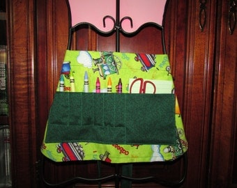 SALE - Choo-Choo Crayon Apron with crayons & pad, Trains print, child ART apron, play apron