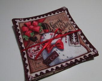 Fabric Coaster Happy Snowman Set - Reversible - all cotton, red, burgundy, snowmen, seasonal decor, large size