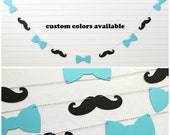 Bow Tie Mustache Garland - Baby Boy Garland Mustache Banner Bow Tie Garland Boy Baby Shower Decor Bow Tie Shower Mustache Party Little Man