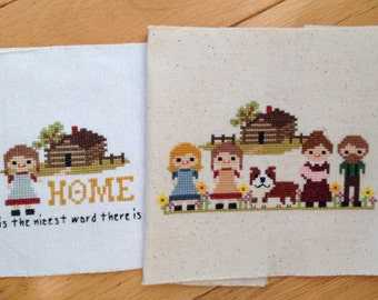 Little House on the Prairie 2 Pack Cross Stitch Patterns: Little House Inspired Modern PDF- Instant Download