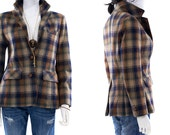Plaid Blazer Tweed Vintage 1970s Fitted Wool Office Dress Jacket Womens Size Small