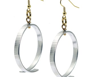 Chased Aluminum Hoop Earrings - Gold Silver Bi-Metal Hoop Earrings - Makes a Great 10th Wedding Anniversary Gift - Hypoallergenic Earrings