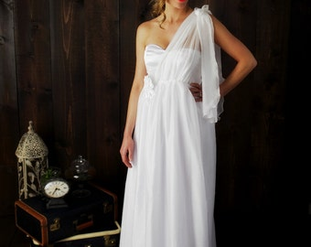 The Grecian Bride Multi-way Wedding dress ~ floor length Chiffon wedding gown with 4-way tie satin bodice ~ with pockets