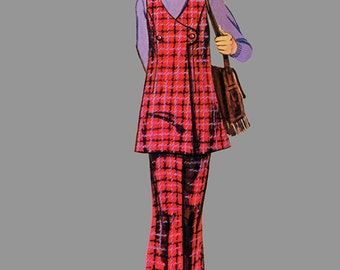 1971 Girls Jumper, Tunic and Bell-Bottom Pants Pattern Simplicity 9540 Boho Bell Bottom Pants, Flared Tunic Size 8 Breast 27 inches UNCUT