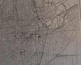 1914 City Map Newark New Jersey - Vintage Antique Map Great for Framing 100 Years Old