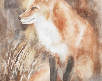 woodland nursery print Fox painting of Fox art PRINT of fox print fox watercolour painting fox nursery art print fox kit baby NEW  11x14
